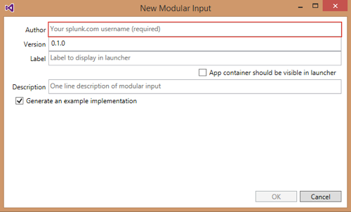 Screen shot of the New Modular Input dialog box