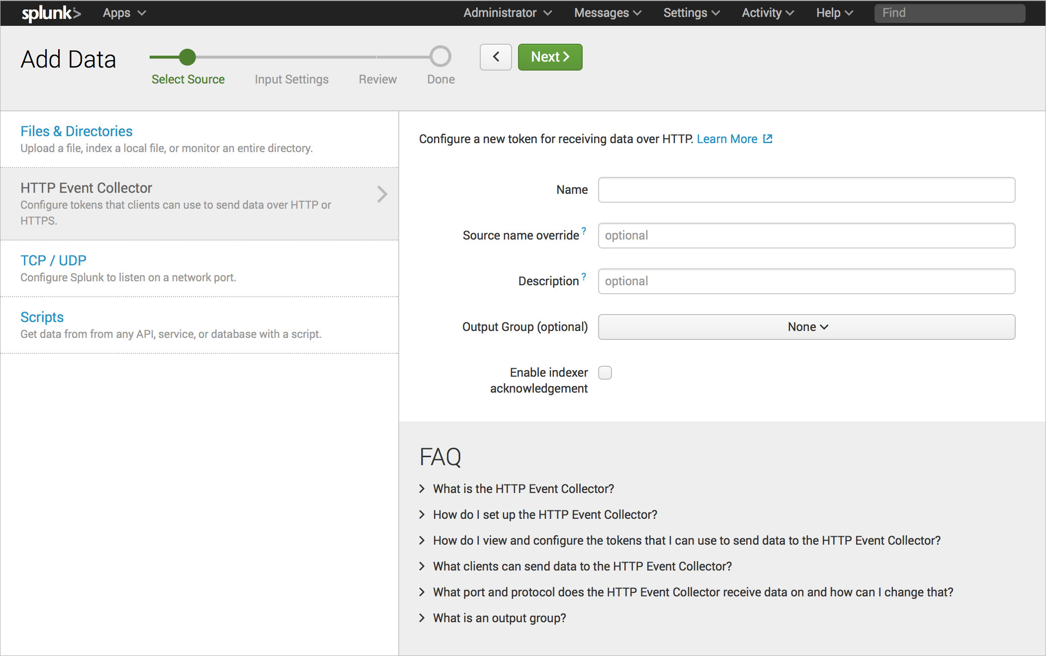 Screen shot of HTTP Event Collector new token Select Source page